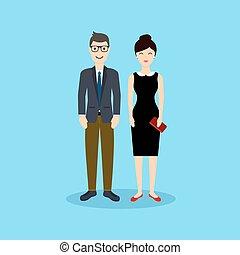 hombre de negocios, y, mujer, en, plano, design., vector, illustration.