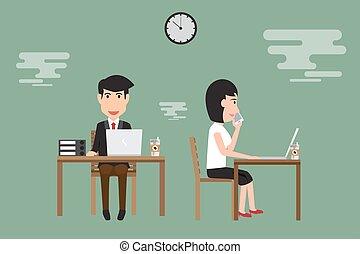 hombre de negocios, y, mujer, trabajo encendido, escritorio, en, oficina., vector, illustration.