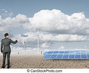 hombre de negocios, y, renovable, anergy