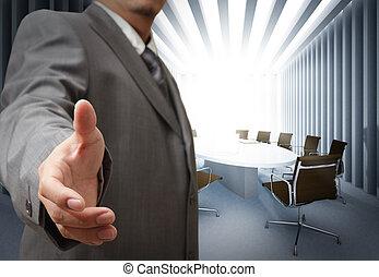 hombre de negocios, y, tabla de reunión, plano de fondo