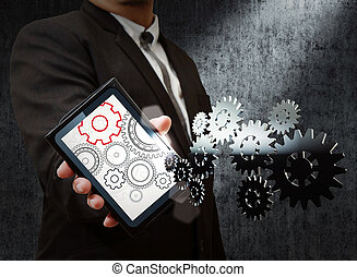 hombre de negocios, y, tableta, exposición, engranaje, a, éxito