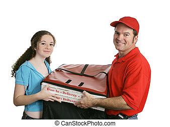 hombre de pizza, y, cliente