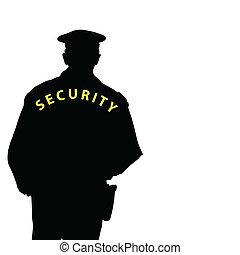 hombre de seguridad, color, vector