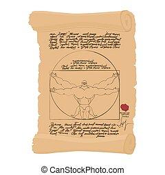 hombre de vitruvian, de, leonardo da vinci, humorístico, illustration., puntos, atleta, culturista, con, grande, muscles., condición física, hombre