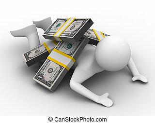 hombre, debajo, dinero, blanco, fondo., aislado, 3d, imagen