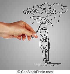 hombre, debajo, lluvia, teniendo paraguas