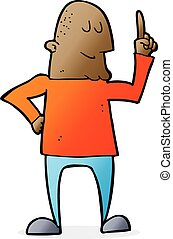 hombre, dedo que señala, caricatura