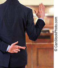 hombre, dedos, empresa / negocio, crossed.