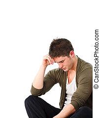 hombre, deprimido, sentado, piso