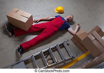 hombre, después, accidente, en, un, escalera