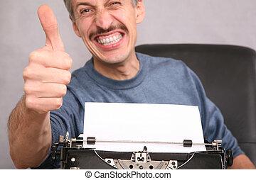 hombre, después, el, máquina de escribir, exposiciones, gesto, por, el, dedo