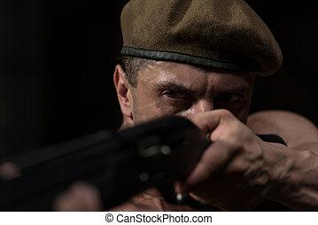 hombre, dibujo, ametralladora, en, defensa propia