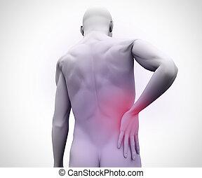 hombre digital, con, dolor de espalda