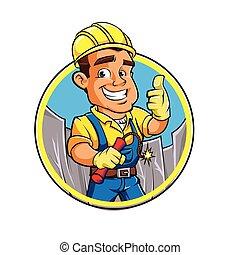 hombre, dinamita, stick., caricatura