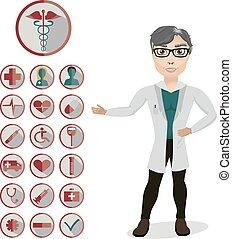 hombre, doctor, y, 18, iconos médicos