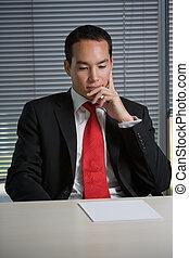 hombre, documentos, empresa / negocio, hojear