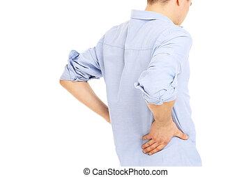 hombre, dolor de espalda