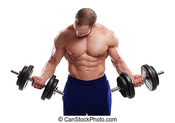 hombre, dumbbell, fuerte, bodybuilding.