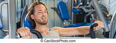 hombre, ejercicios, máquina, prensa, banco, pecho