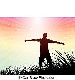hombre, el levantar de la mano, el suyo