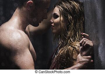 hombre, el mirar, amante, con, deseo