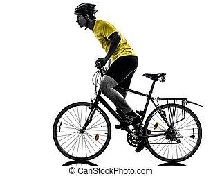 hombre, el montar en bicicleta, bicicleta montaña, silueta
