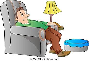 hombre, el slouching, en, un, perezoso, silla, o, sofá,...