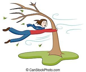 hombre, el sostener encendido, a, árbol, en, día ventoso