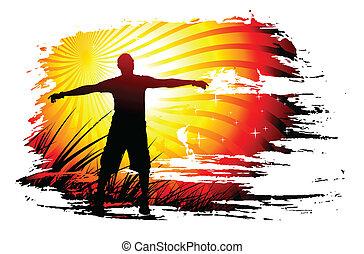 hombre, el suyo, joven, levantar, manos