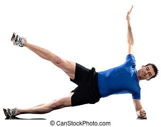 hombre, en, abdominals, entrenamiento, postura, blanco,...