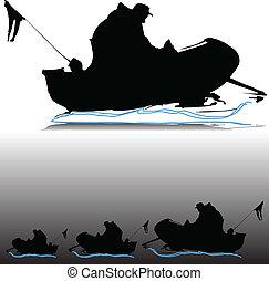 hombre, en, barco, vector, siluetas