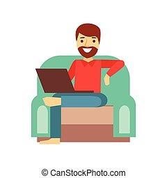 hombre, en casa, en, sillón, con, cima regazo, persona, ser,...