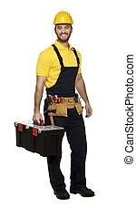 hombre, en el trabajo, con, caja de herramientas
