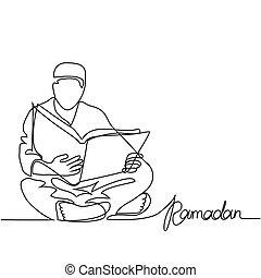 hombre, en, fez, lectura, koran.