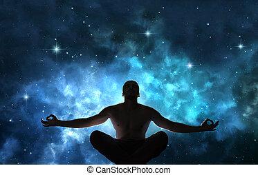 hombre, en, meditación