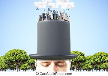 hombre, en, negro, cilindro, con, 3d, megapolis, ciudad, en, el, cima, en, cielo azul, plano de fondo