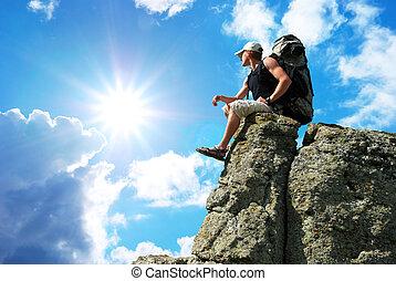 hombre, en, pico, de, mountain.