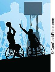 hombre, en, sílla de ruedas, jugar al básquetbol,...