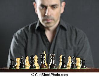 hombre, en, tablero del ajedrez