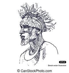 hombre, en, tradición, de, papuans