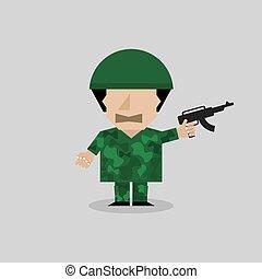 hombre, en, un, soldado, uniform.