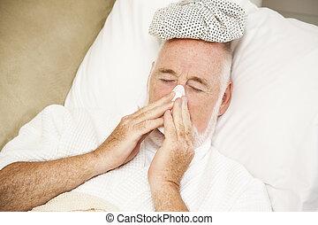 hombre enfermo, pierde nariz