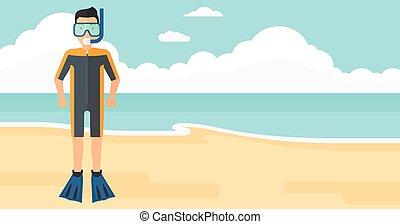 hombre, equipment., natación