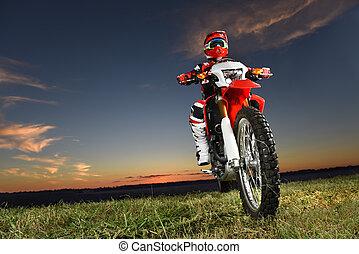 hombre, equitación, motocross, byke