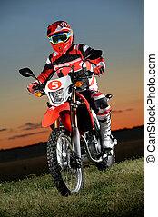 hombre, equitación, motocycle