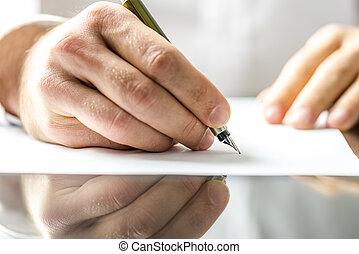 hombre, escritura, en, un, blanco, papel