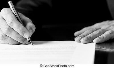 hombre, escritura, o, firma, un, documento