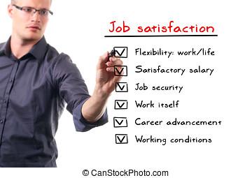 hombre, escritura, trabajo, satisfacción, lista, en, whiteboard