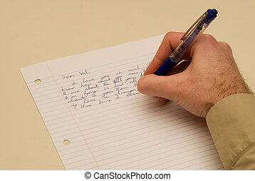 hombre, escritura, un, adore carta