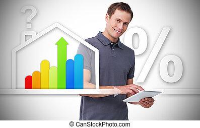 hombre estar de pie, atrás, el, energía, eficiente, casa, gráfico
